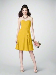 Alfred Angelo Canary Yellow Chiffon 7176 Casual Bridesmaid/Mob Dress Size 6 (S)