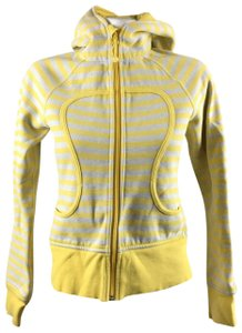 Lululemon Lululemon Yellow Gray Stripe Scuba Zip Up Hoodie Jacket Size 4 Cotton