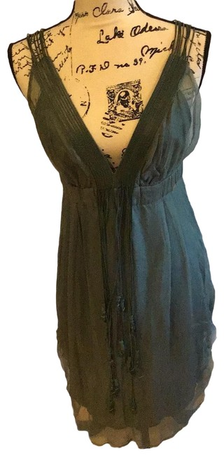 Item - Olive Chiffon and Leather Trim Mid-length Casual Maxi Dress Size 8 (M)