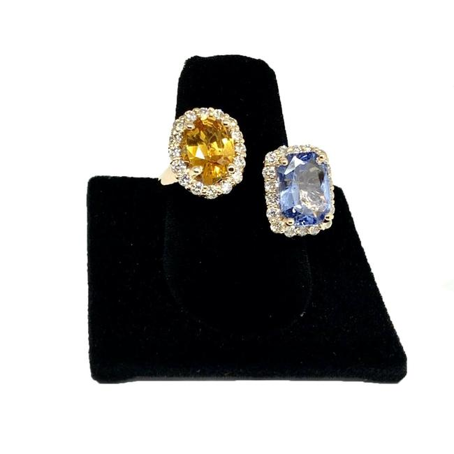 Unbranded Blue Yellow Silver Diamond Sapphire 14k Gold 4.65 Tcw Women Certified 921531 Ring Unbranded Blue Yellow Silver Diamond Sapphire 14k Gold 4.65 Tcw Women Certified 921531 Ring Image 1