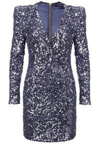 French Connection Sequin Wrap Plunge Mini Dress