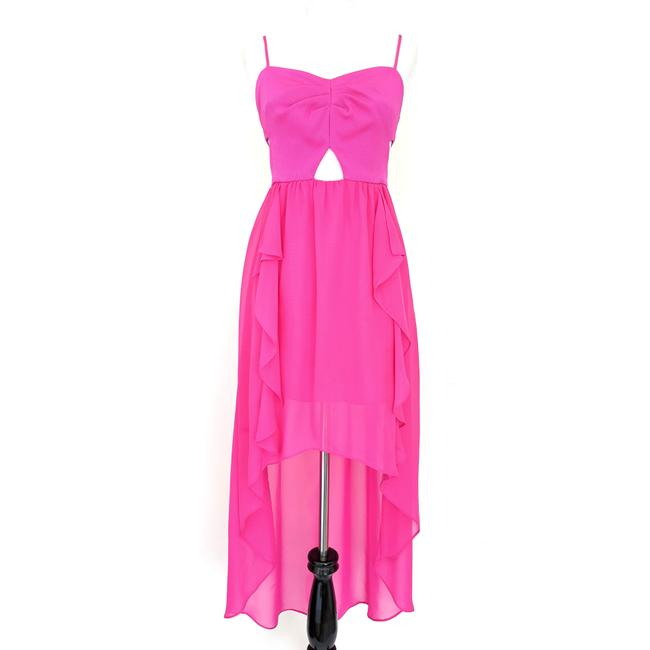 Item - Hot Pink Cut-out High Low Party Long Cocktail Dress Size 0 (XS)
