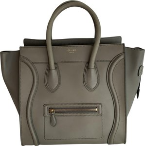 Céline Luggage Handbag Leather Tote in green