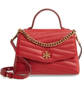 Tory Burch Quilted Leather Kira Satchel in Red