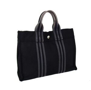 Hermès Fourre Canvas Navy Tote in Black and Gray