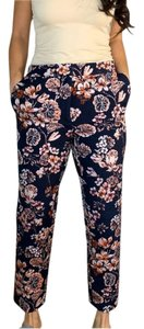 Ann Taylor Floral Embroidered Skinny Pants Navy
