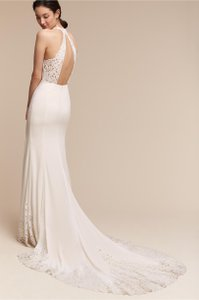 BHLDN Ivory Crepe Cruz Gown Willowby Feminine Wedding Dress Size 10 (M)
