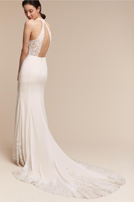 BHLDN Ivory Crepe Cruz Gown Willowby Feminine Wedding Dress Size 10 (M) BHLDN Ivory Crepe Cruz Gown Willowby Feminine Wedding Dress Size 10 (M) Image 1