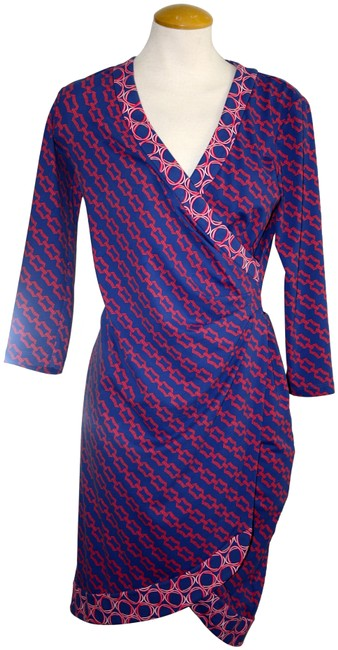 Item - Multicolor Wrap Blue Red Chain Design X-small Mid-length Short Casual Dress Size 2 (XS)