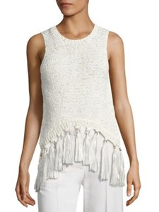 A.L.C. Knit Tassel Trim Exclusive Decor Top White