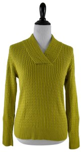 Jeanne Pierre Cotton Cable Knit V-neck Longsleeve Ribbed Sweater