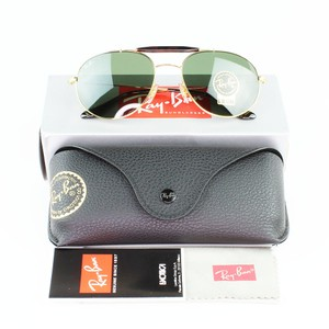 Ray-Ban & Gold Frame RB3540 001 56 Unisex Aviator Sunglasses