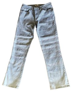 Tory Burch Patterned Straight Leg Jeans