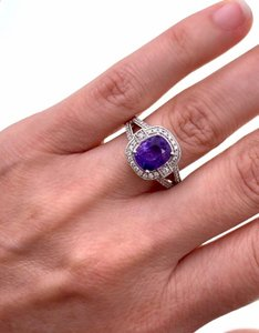 Platinum Color Changing Sapphire Halo Diamond 2.86 Tcw Gia Engagement Ring