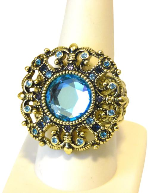 """Item - Bronzetone Blue """"How Suite It Is"""" Crystal Size 9 Ring"""