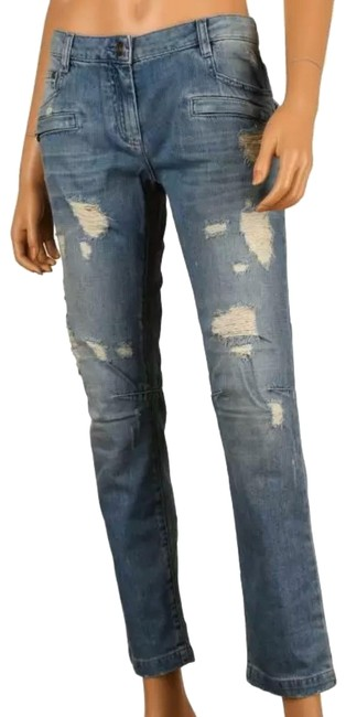 Item - Distressed New Ladies Blue Rips Frays Denim Cotton Pants 30 Skinny Jeans Size 8 (M, 29, 30)