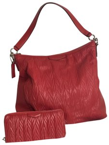Coach Leather Wallet Tote Hobo Bag