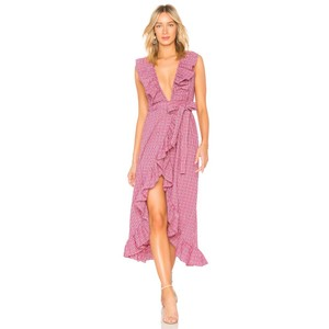Pink Maxi Dress by MISA Los Angeles Plaid Ruffle Sleeveless Cotton