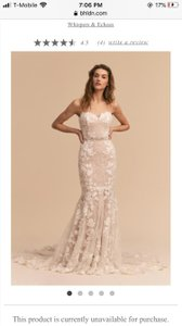 BHLDN White Lace/Nude Pink Lining Lombardy Formal Wedding Dress Size 00 (XXS)