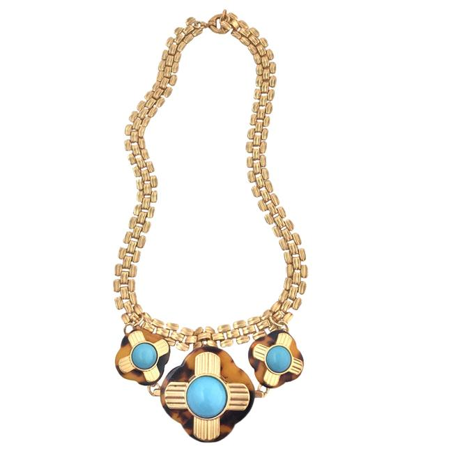 Item - Gold/Turquoise • Beach Cocktail Collar Necklace