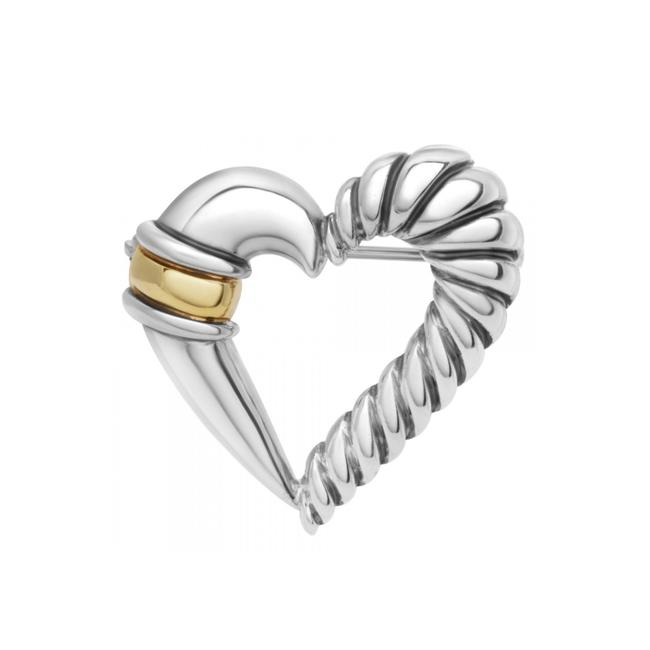Item - Gold/Silver • 14k Two-tone Heart Brooch Pin