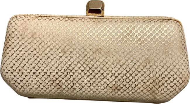 Item - Box Fling Snake-print White Leather Clutch