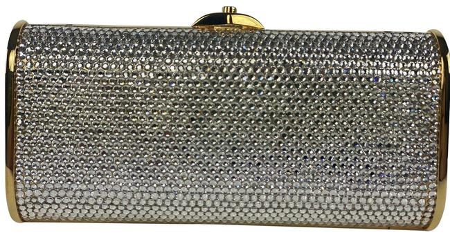 Item - Full Bead Minaudiere Chain Evening 1ma4 Silver X Gold Crystals Cross Body Bag
