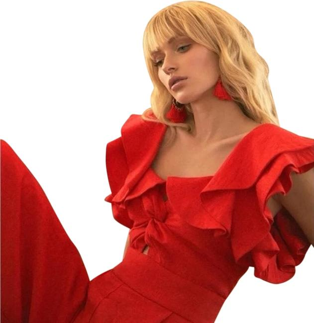 Item - Red Exclusive Ruffled Culotte Romper/Jumpsuit