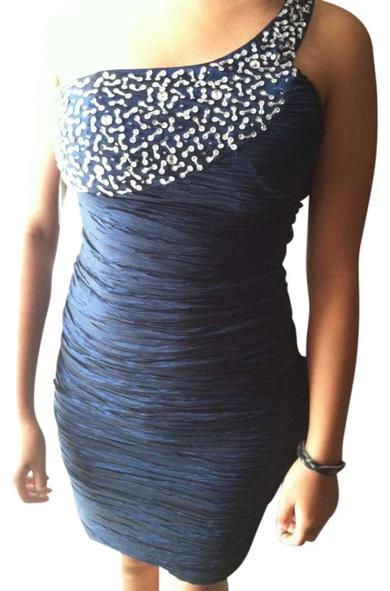 Item - Navy Blue Beaded One Shoulder Party Sparkle Prom Micro-mini Fitted Mini Night Out Dress Size 8 (M)