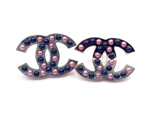 Chanel Chanel Brand New Silver CC Plate Navy Pink Pearl Piercing Earrings