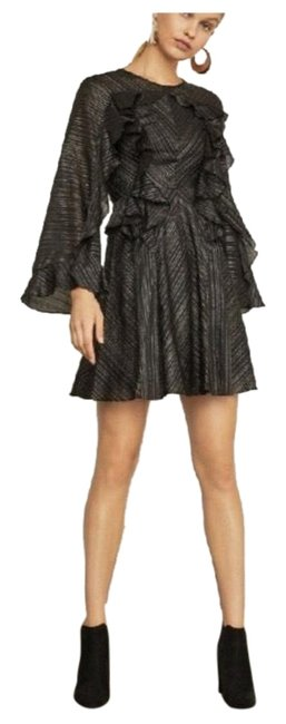Item - Black Gold Silver Brass Copper Metallic And Flow Short Cocktail Dress Size 2 (XS)