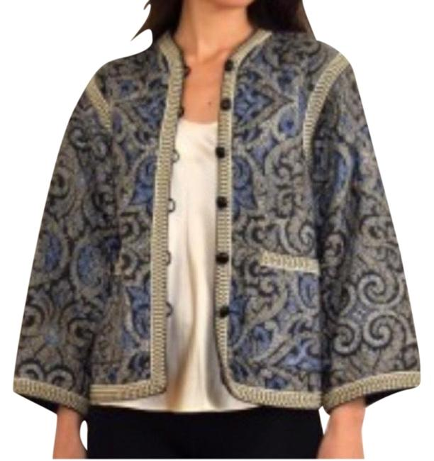 Item - Blue Yellow Black and Cream Vintage Rare Quilted 1970s Coat Blazer Size 10 (M)
