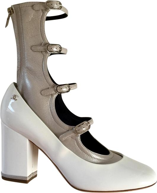Item - New Unworn Summer Runway White Patented and Platinum Kidskin Buckle Boots/Booties Size EU 37 (Approx. US 7) Regular (M, B)