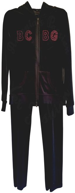 Item - Black Crystals Design Velour Hoodie-n-jogger Pant Activewear Outerwear Size 8 (M)