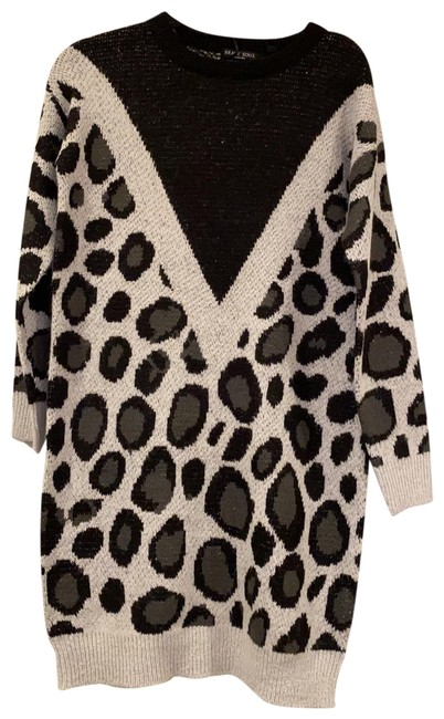 Item - Black and Grey Leopard Print Lkd-364simba/As Mid-length Short Casual Dress Size 2 (XS)