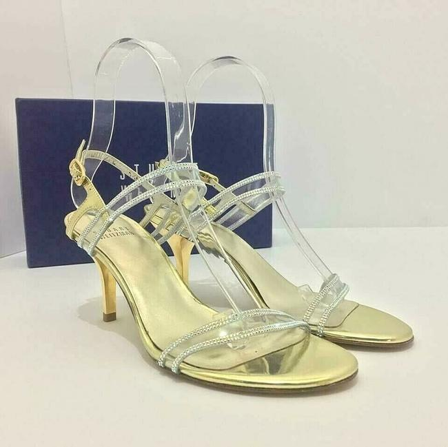 Stuart Weitzman Gold Cinematic Crystal Ankle Strap Heel Leather Sandals Size US 5.5 Regular (M, B) Stuart Weitzman Gold Cinematic Crystal Ankle Strap Heel Leather Sandals Size US 5.5 Regular (M, B) Image 1