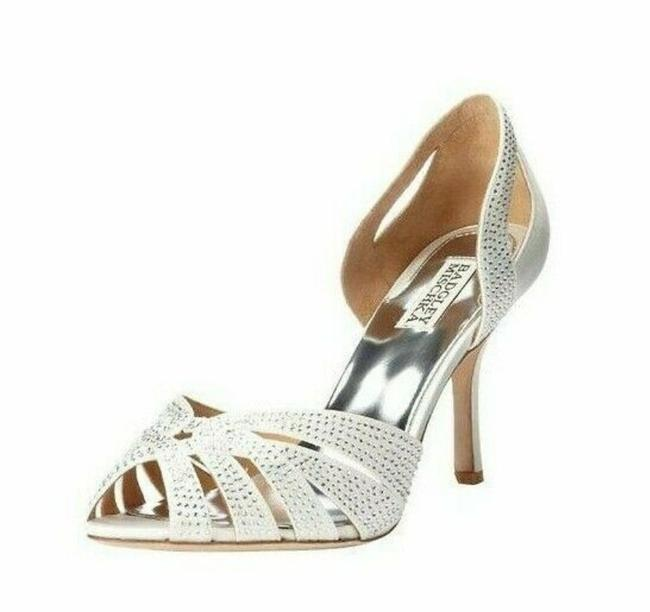 Item - White Crisscross Embellished Peep Toe Heel Pumps Size US 6 Regular (M, B)