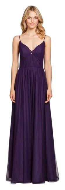 Item - Plum 5859 Tulle V Neck Tulle Bridesmaid Gown Long Formal Dress Size 10 (M)