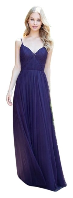 Item - Plum 5859 Tulle V Neck Bridesmaid Gown Long Formal Dress Size 10 (M)