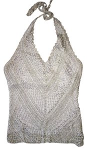 The Limited Weave Silver Halter Top