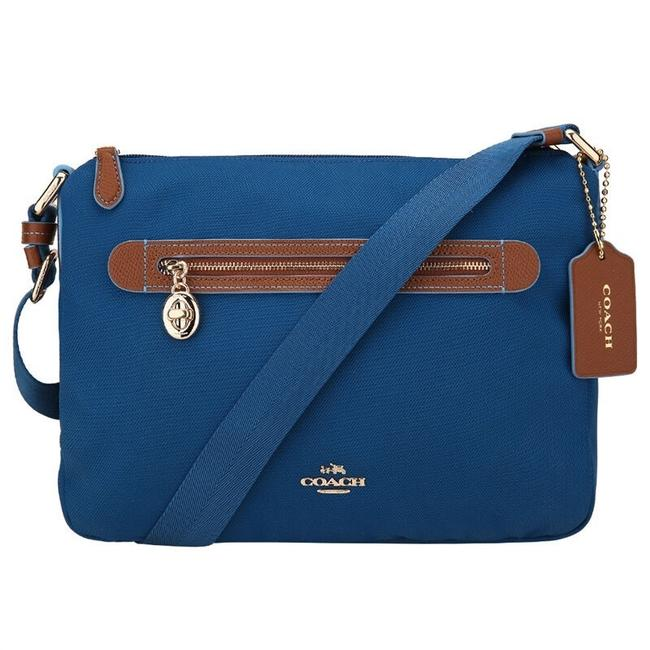 Item - Messenger Sawyer Like New~coach Blue Nylon Bright Mineral Blue-gold Nylon-leather Cross Body Bag