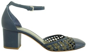 Loro Piana Leather Ankle Strap Round Toe Casual BLUE Pumps