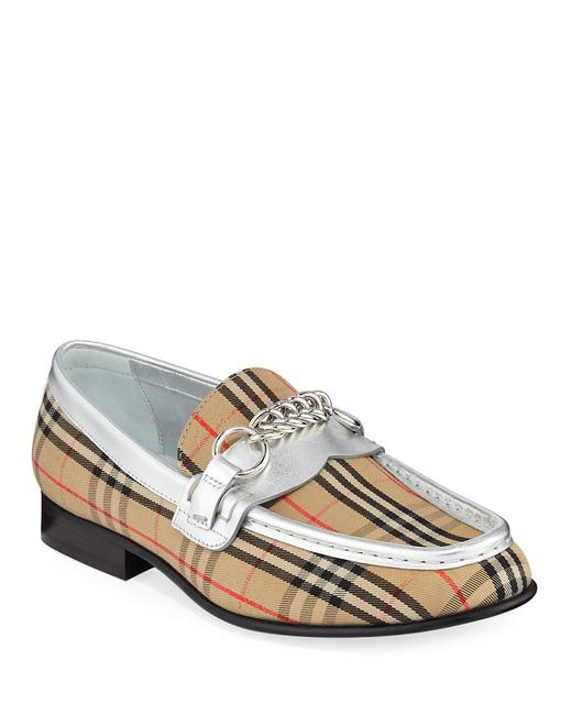 Item - Silver/Grey/Multi 'moorley' Check-print Chain Loafers with Piping Flats Size US 8 Regular (M, B)