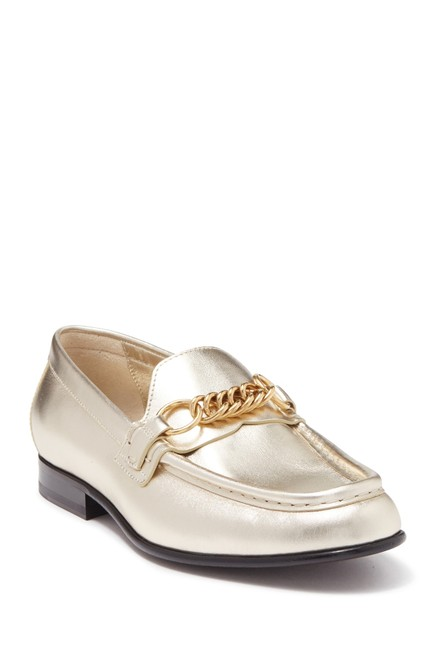 Item - Light Gold 'solway' Leather Chain-link Loafers Flats Size US 8 Regular (M, B)