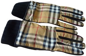 Burberry Burberry Vintage Check Pattern Leather Lined Gloves