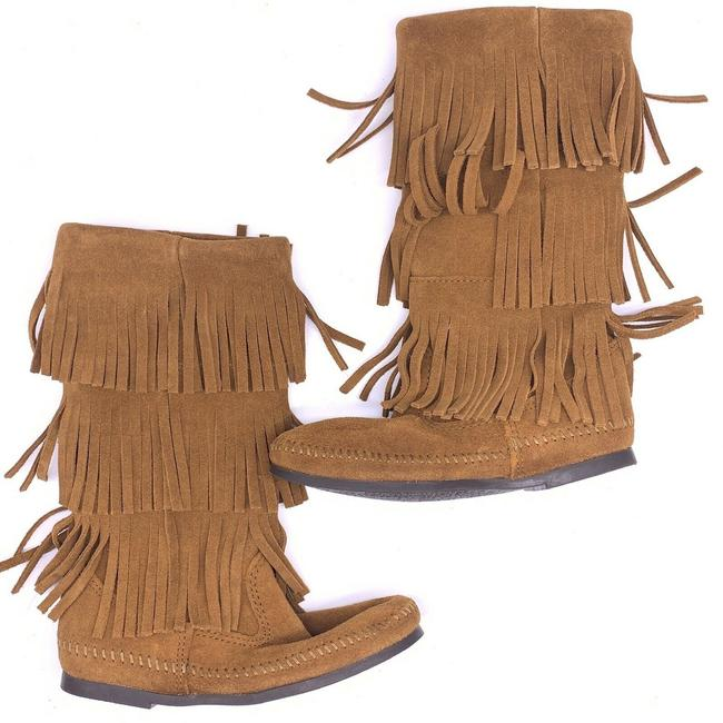 Item - Brown Fringe Suede Moccasin Boots/Booties Size US 6 Regular (M, B)