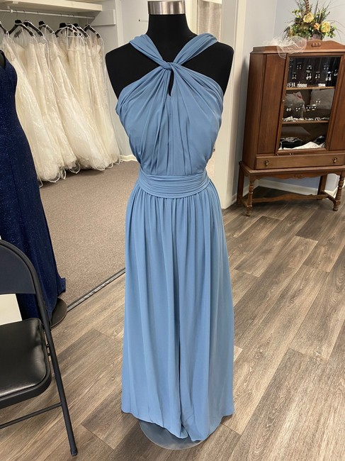 Bill Levkoff Slate Blue Chiffon 1274 Casual Bridesmaid/Mob Dress Size 10 (M) Bill Levkoff Slate Blue Chiffon 1274 Casual Bridesmaid/Mob Dress Size 10 (M) Image 1