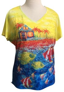 Onque Casuals T Shirt Yellow/Blue