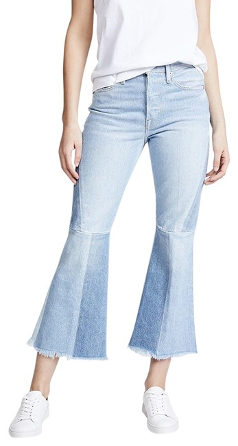 Item - Blue New • Panel Block Crop Hurley Flare Leg Jeans Size 6 (S, 28)