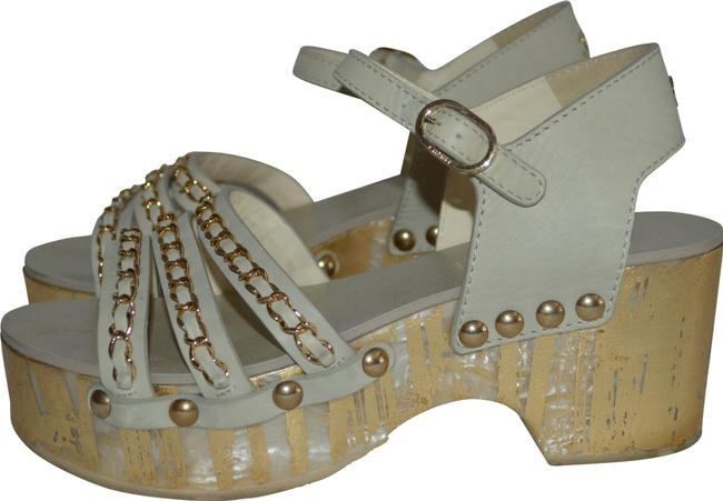 "Item - Beige 6.5 Gold Chain Pearl Platform 2.75"" Heels Sandals Size EU 37 (Approx. US 7) Regular (M, B)"
